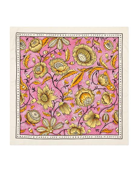 Gucci Silk Watercolor Floral Scarf