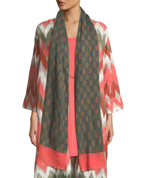 MASAI Audrey Printed Cotton Scarf in Olive/Coral