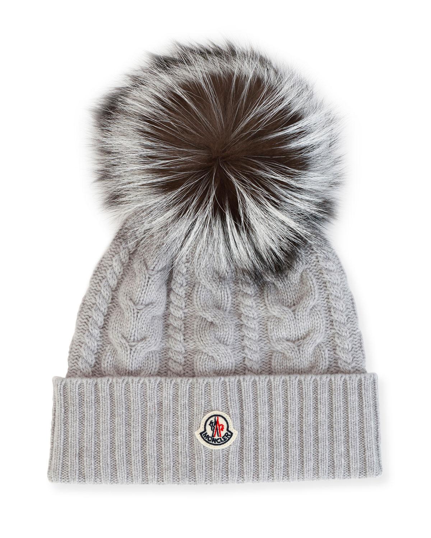 33133a72f24 Moncler Cable-Knit Beanie Hat w  Fox Fur