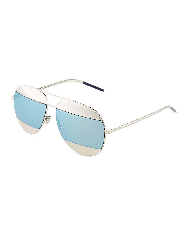 c7db1e304ca14 Dior DiorSplit Two-Tone Metallic Aviator Sunglasses