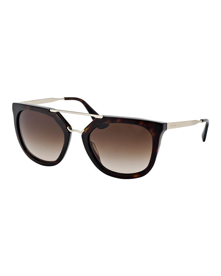 Straight-Brow Double-Bridge Sunglasses