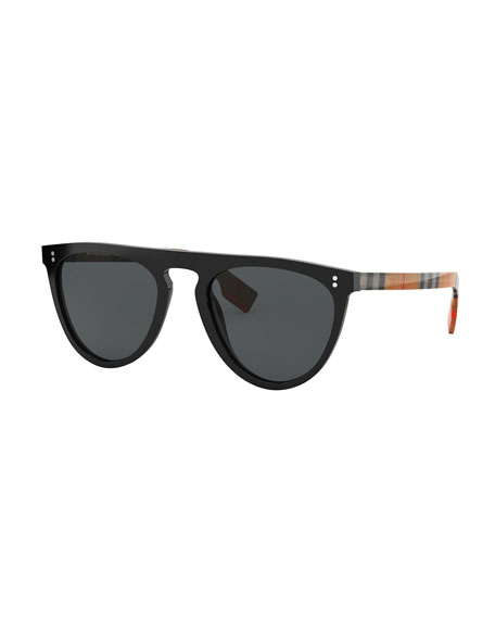 Burberry Flattop Acetate Check-Arms Aviator Sunglasses