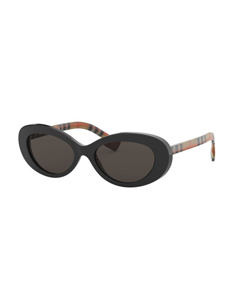 Burberry Oval Check-Arms Sunglasses