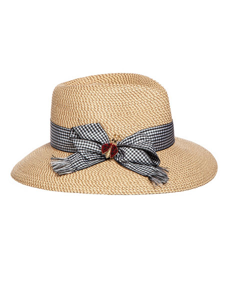 Eric Javits Woven Fedora w/ Gingham Hat Band & Lady Bug Brooch