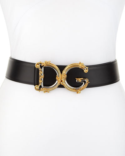 Baroque Logo Leather Belt