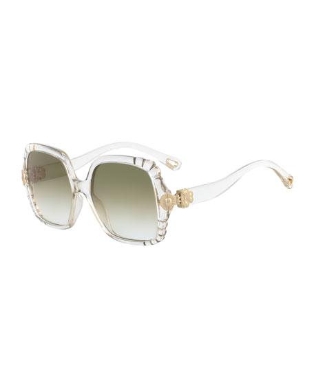 Chloe Vera Scalloped Square Plastic Sunglasses