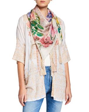 5628a9abe8 Johnny Was Botan Floral-Print Silk Georgette Scarf with Tassels