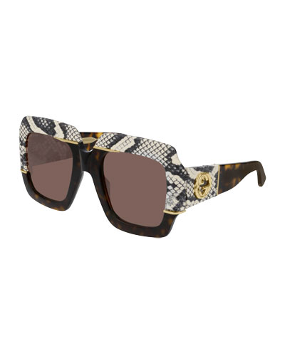 Chunky Square Snakeskin Printed Acetate Sunglasses