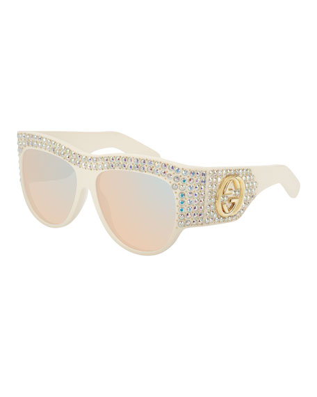 Gucci Crystal Studded Mirrored Sunglasses