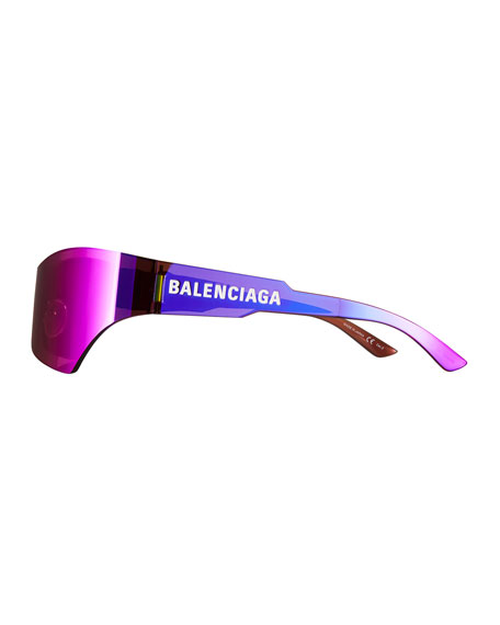 Balenciaga Mirrored Rimless Wrap Sunglasses