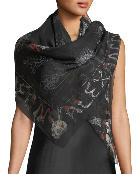 Image 1 of 3: Silk Shawl w/ Skull Cabinets Pattern