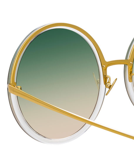 Linda Farrow Semi-Rimless Round Gradient Sunglasses
