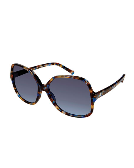 Colors In Optics Orifini II Round Gradient Sunglasses, Blue Mosaic