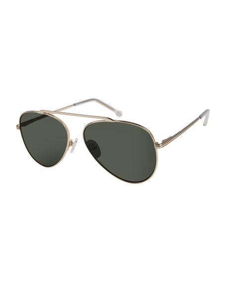 Colors In Optics Cosmic Aviator Sunglasses with Open Nose Bridge, Gold/Black