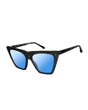 c05461a58603 Colors In Optics Metropolitan Glittered Cat-Eye Sunglasses, Black Sparkle
