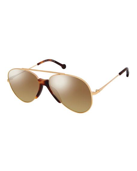 Colors In Optics Brasco Aviator Sunglasses w/ Contrast Nose Bridge, Gold