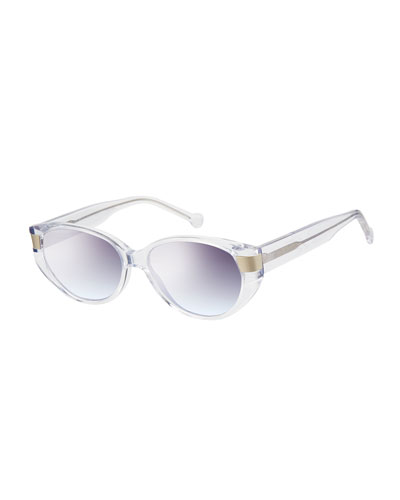 South Beach Transparent Cat-Eye Sunglasses  Crystal Clear