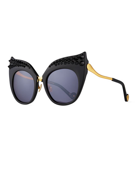 Anna-Karin Karlsson Black Moon Studded Ultra Cat-Eye Sunglasses
