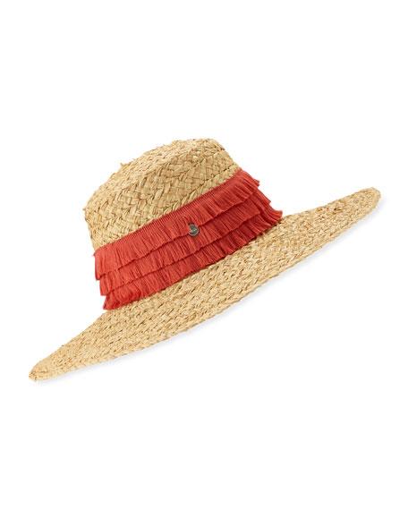 Tracy Watts Mar Braided Raffia Sun Hat w/ Fringe Trim