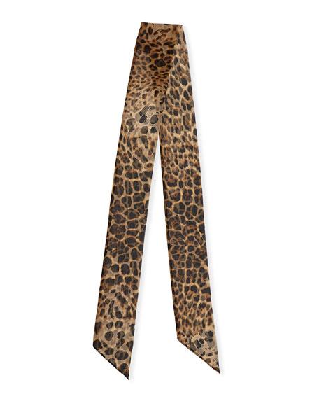 Saint Laurent Leopard Print Large Silk Neck Tie