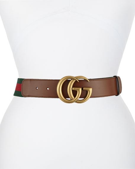 Gucci Wide Leather/Web Belt