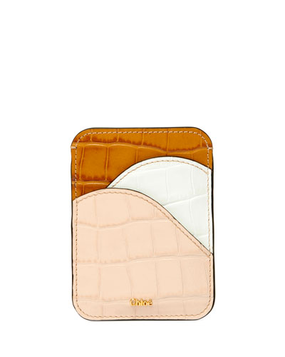 Walden Croc-Embossed Leather Card Case