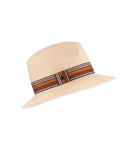 Loro Piana Ingrid Straw Panama Brisa Hat w/ Multi-Stripe Band