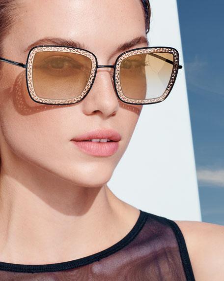Dolce & Gabbana Mirrored Square Sunglasses w/ Metal Cutouts