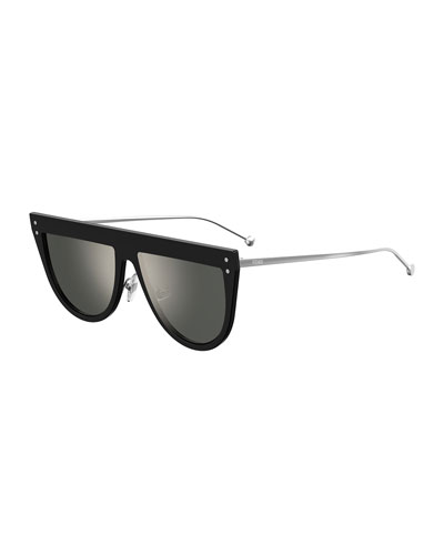 Flat-Top Mirrored Shield Sunglasses