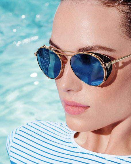 MCM Mirrored Aviator Sunglasses w/ Side Blinders
