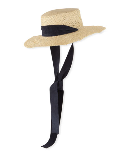 Nina Straw Sun Hat w/ Pull-Through Scarf