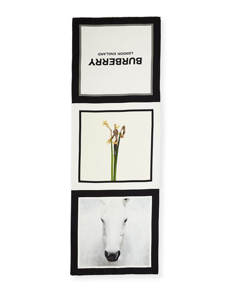 Burberry Daffodil & Horse Printed Silk Scarf