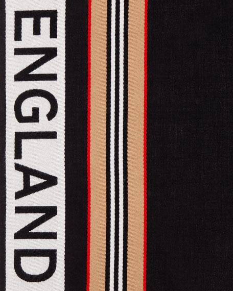 Burberry Icon Stripe Logo Detail Cotton Scarf