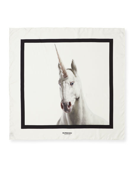 Burberry Unicorn & Logo Printed Silk Scarf
