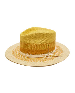 44cbae1e6120ae Nick Fouquet Sol Colorblock Straw Fedora Hat