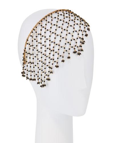 Carmen Brass & Onyx Veiled Headband