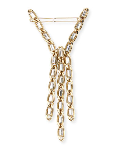Slim Brass Curb Chain Hair Pin w/ Crystal Trim
