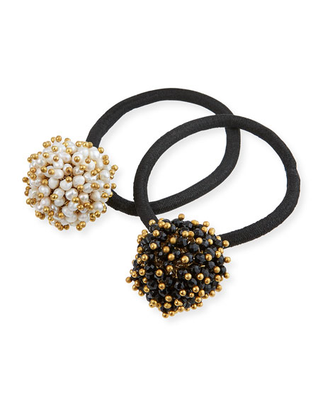 Rosantica Pompon Faux-Pearl & Onyx Cluster Ponytail Holders, Set of 2