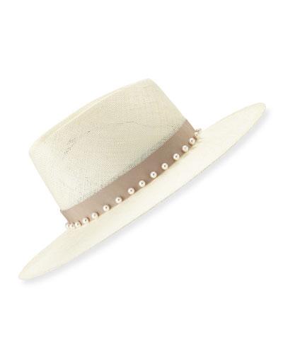 Harlowe Fedora Hat w/ Swarovski Pearl Bead Trim
