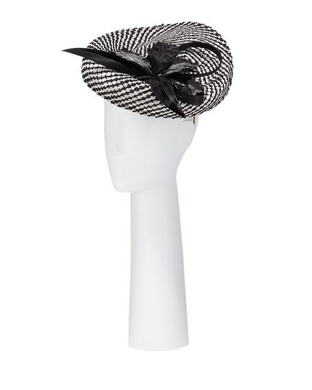 Jane Taylor Woven Disc Hat w/ Flower & Buntal Trim