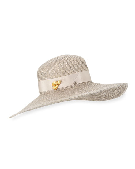 Jane Taylor Large Brimmed Straw Hat w/ Brass Shells