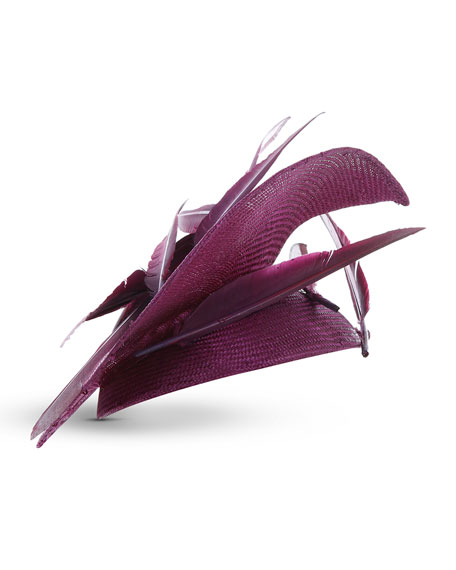 Jane Taylor Heart-Shaped Straw Hat w/ Tipped Feathers