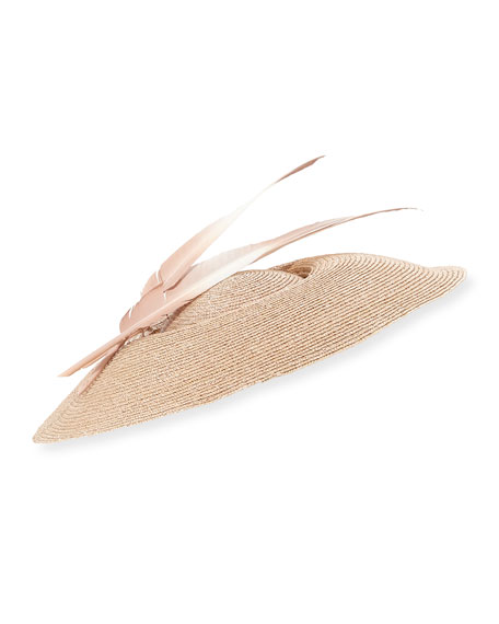 Jane Taylor Natural Straw Formal Hat w/ Feathers