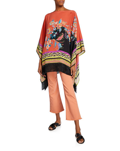 Fringed Floral Fern Collage Poncho