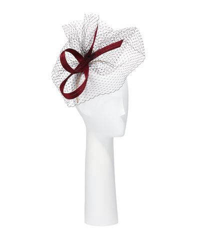 Structured Bow & Veil Hat