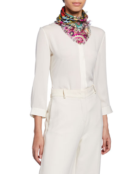 Etro Reversible Patchwork Square Silk Scarf