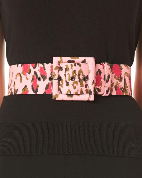 Carolina Herrera Leopard Print Square Buckle Belt