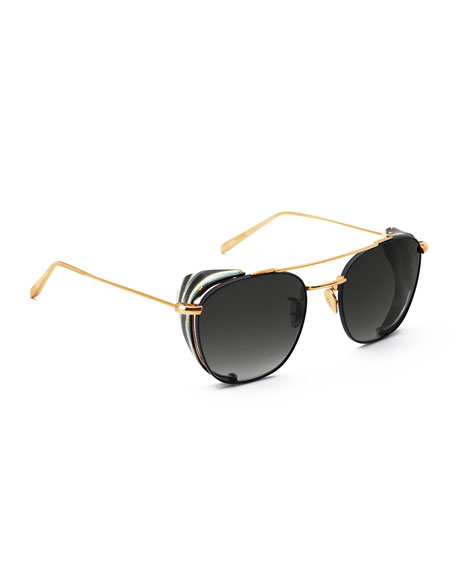 KREWE Earhart Blinker Metal Aviator Sunglasses w/ Side Blinders