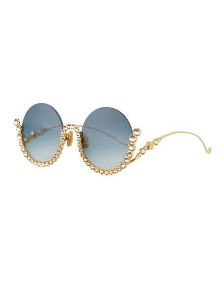 bb80f521f66 Anna-Karin Karlsson Full Moon Semi-Rimless Round Sunglasses w