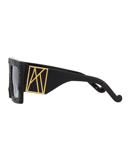 Anna-Karin Karlsson Mother Beep Square Acetate Sunglasses w/ Crystal Front